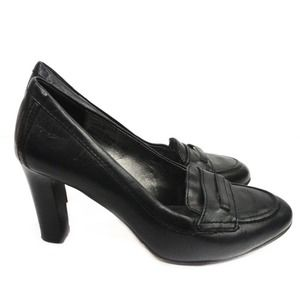 Coach Black Leather Penny Loafer Heels Chunky